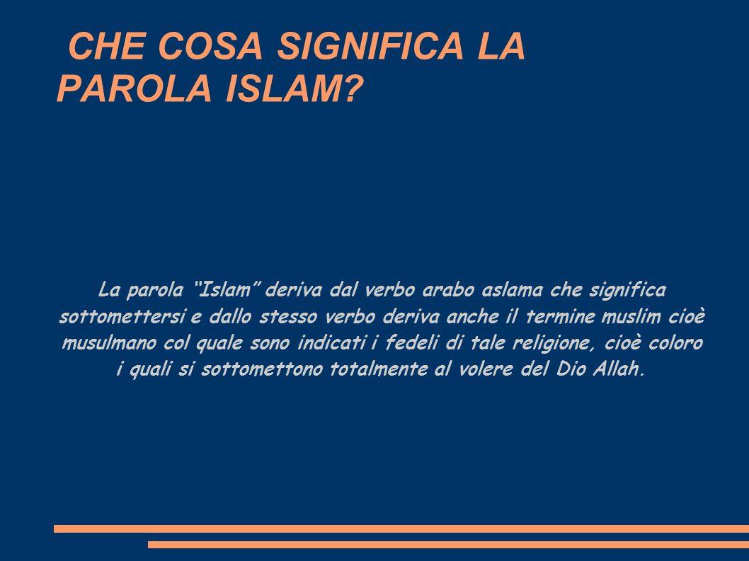 CHE COSA SIGNIFICA LA PAROLA ISLAM