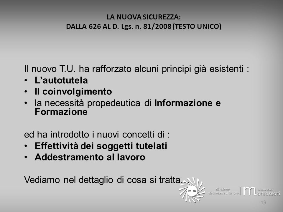 LA NUOVA SICUREZZA: DALLA 626 AL D. Lgs. n. 81/2008 (TESTO UNICO)