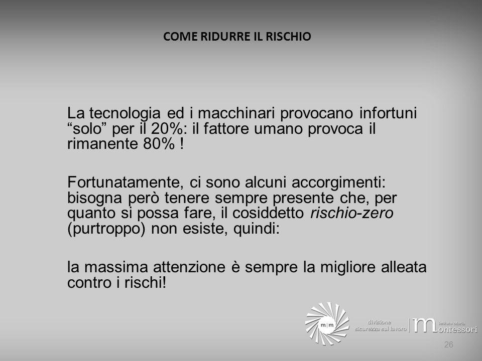 COME RIDURRE IL RISCHIO