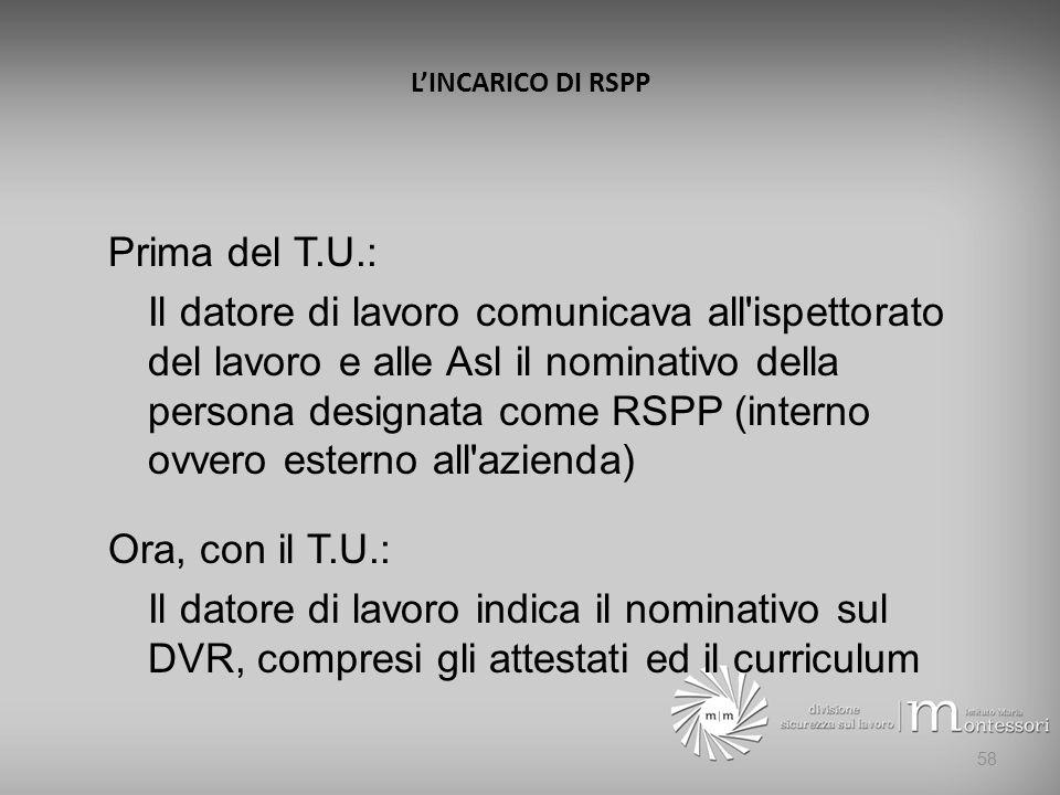 L'INCARICO DI RSPP