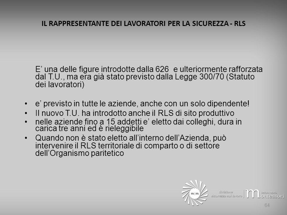 IL RAPPRESENTANTE DEI LAVORATORI PER LA SICUREZZA - RLS