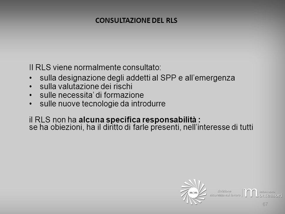 CONSULTAZIONE DEL RLS Il RLS viene normalmente consultato: sulla designazione degli addetti al SPP e all'emergenza.