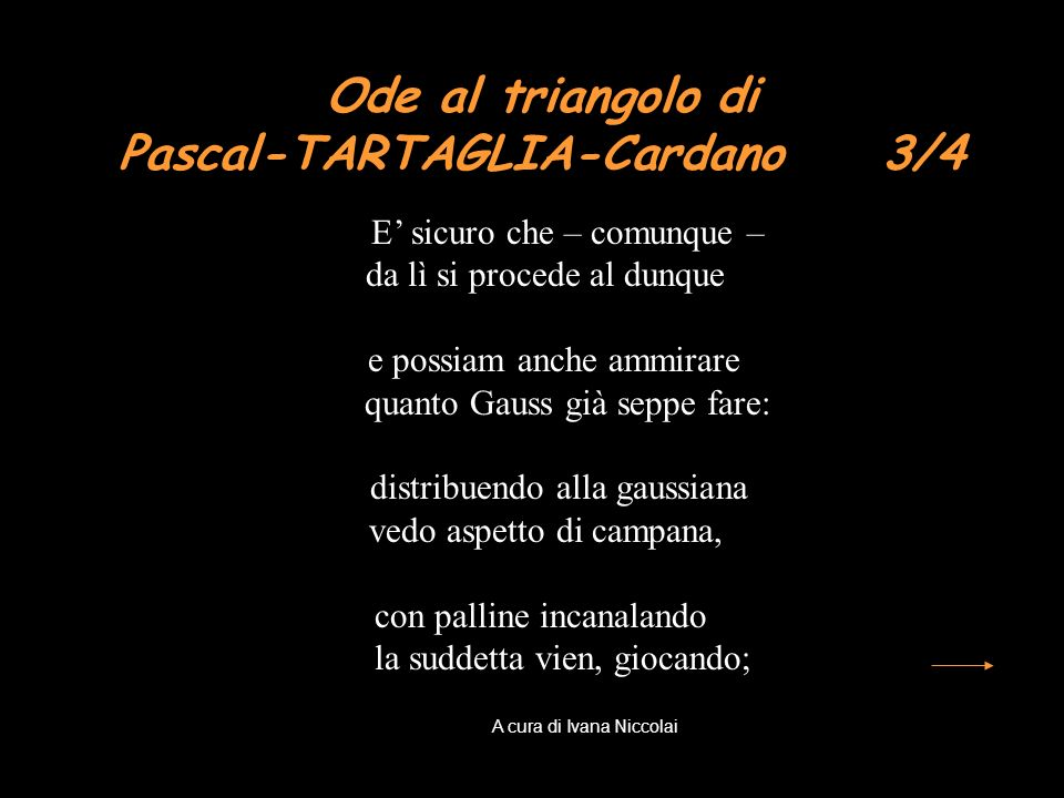 Ode al triangolo di Pascal-TARTAGLIA-Cardano 3/4