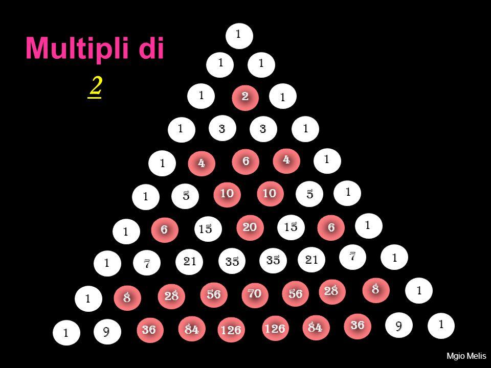 1 Multipli di 2. 1. 1. 1. 2. 1. 1. 3. 3. 1. 4. 1. 1. 4. 6. 1. 5. 10. 10. 5. 1. 1.