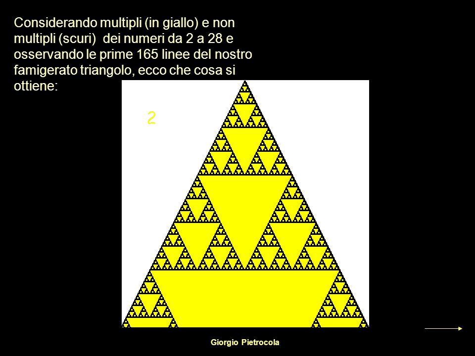Considerando multipli (in giallo) e non multipli (scuri) dei numeri da 2 a 28 e osservando le prime 165 linee del nostro famigerato triangolo, ecco che cosa si ottiene: