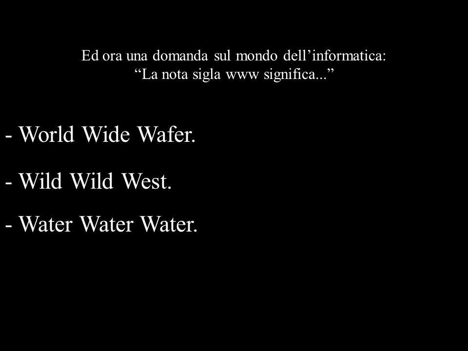 - World Wide Wafer. - Wild Wild West. - Water Water Water.