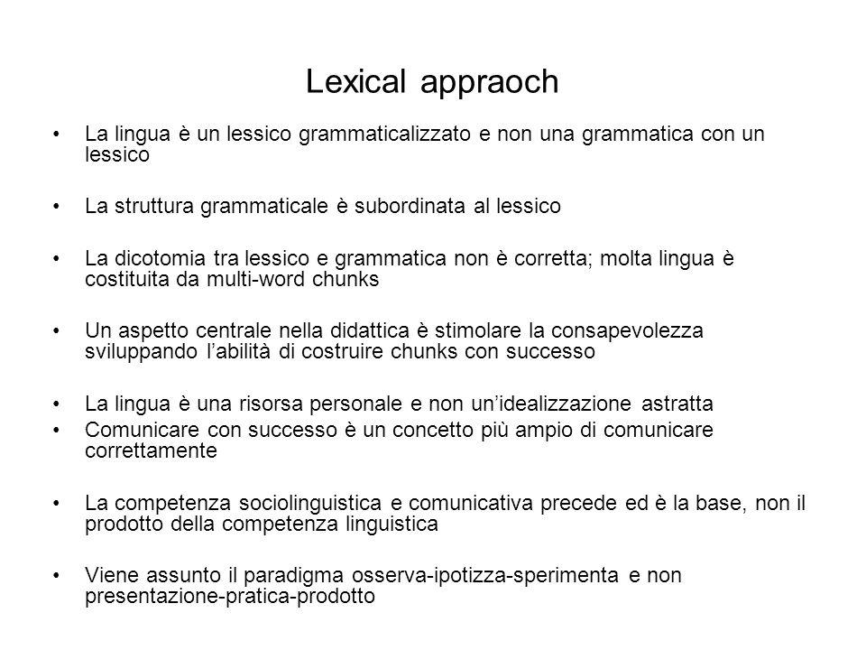 Lexical appraoch La lingua è un lessico grammaticalizzato e non una grammatica con un lessico. La struttura grammaticale è subordinata al lessico.
