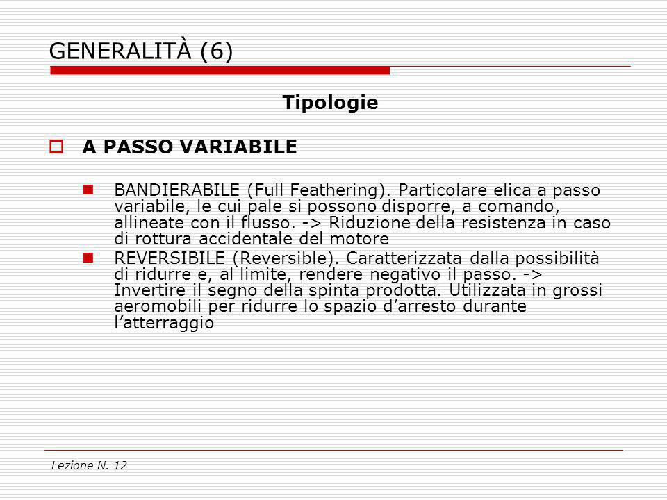 GENERALITÀ (6) Tipologie A PASSO VARIABILE