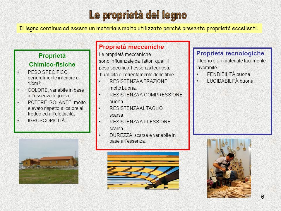 Le proprietà del legno Proprietà meccaniche Proprietà tecnologiche