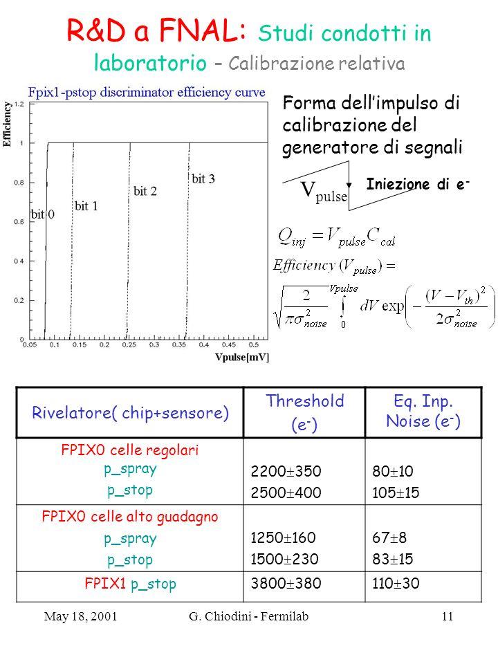 R&D a FNAL: Studi condotti in laboratorio – Calibrazione relativa