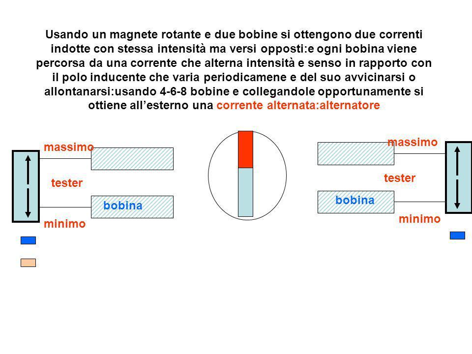 Usando un magnete rotante e due bobine si ottengono due correnti indotte con stessa intensità ma versi opposti:e ogni bobina viene percorsa da una corrente che alterna intensità e senso in rapporto con il polo inducente che varia periodicamene e del suo avvicinarsi o allontanarsi:usando 4-6-8 bobine e collegandole opportunamente si ottiene all'esterno una corrente alternata:alternatore