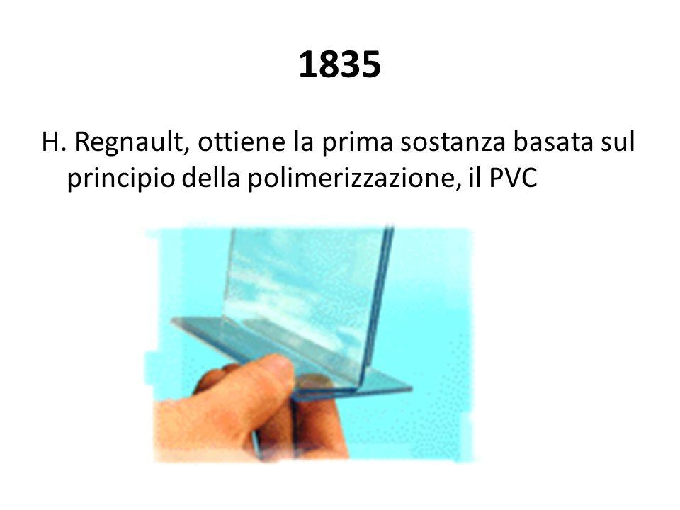 1835 H. Regnault, ottiene la prima sostanza basata sul principio della polimerizzazione, il PVC