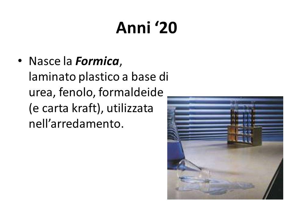 Anni '20 Nasce la Formica, laminato plastico a base di urea, fenolo, formaldeide (e carta kraft), utilizzata nell'arredamento.