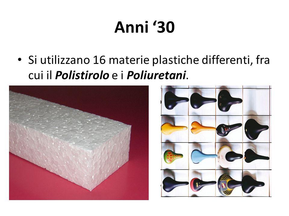 Anni '30 Si utilizzano 16 materie plastiche differenti, fra cui il Polistirolo e i Poliuretani.