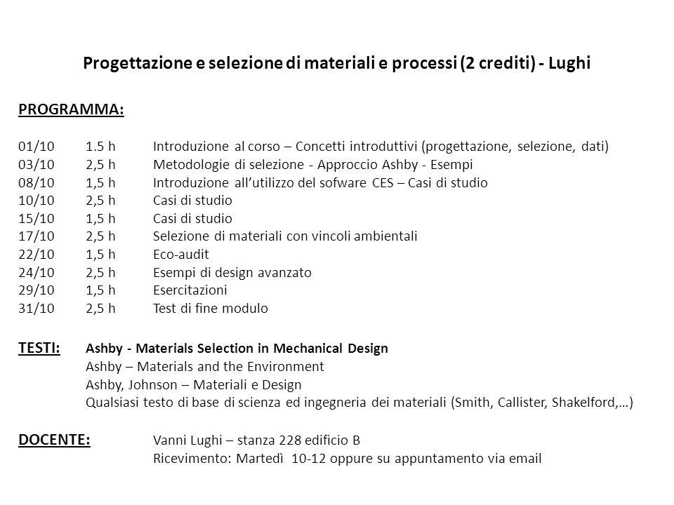 Progettazione e selezione di materiali e processi (2 crediti) - Lughi