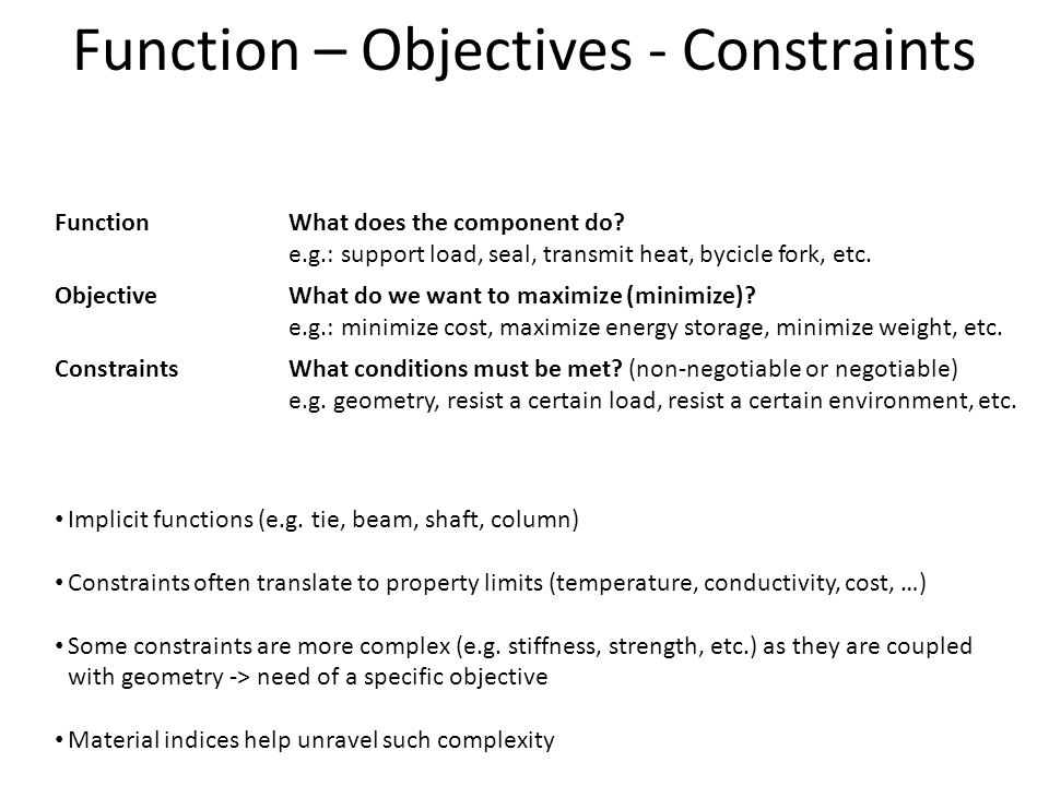 Function – Objectives - Constraints