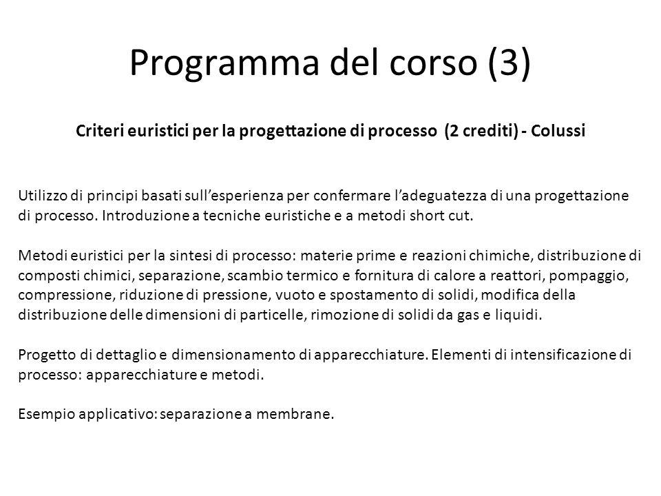 Programma del corso (3) Criteri euristici per la progettazione di processo (2 crediti) - Colussi.