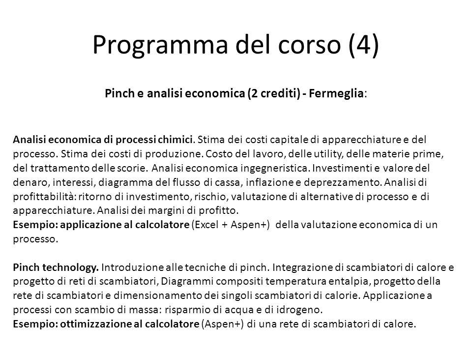 Pinch e analisi economica (2 crediti) - Fermeglia: