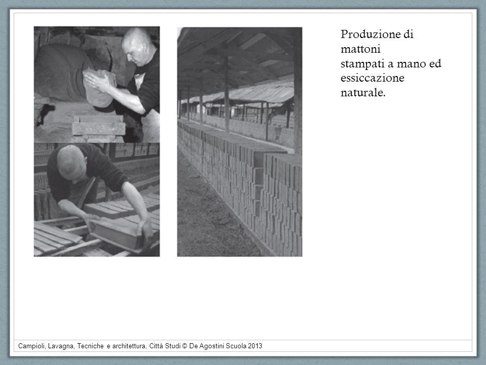 Produzione di mattoni stampati a mano ed essiccazione naturale.