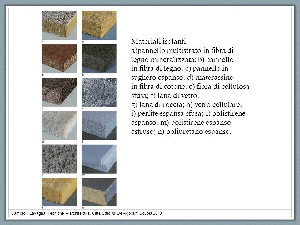 Materiali isolanti:a)pannello multistrato in fibra di. legno mineralizzata; b) pannello. in fibra di legno; c) pannello in.