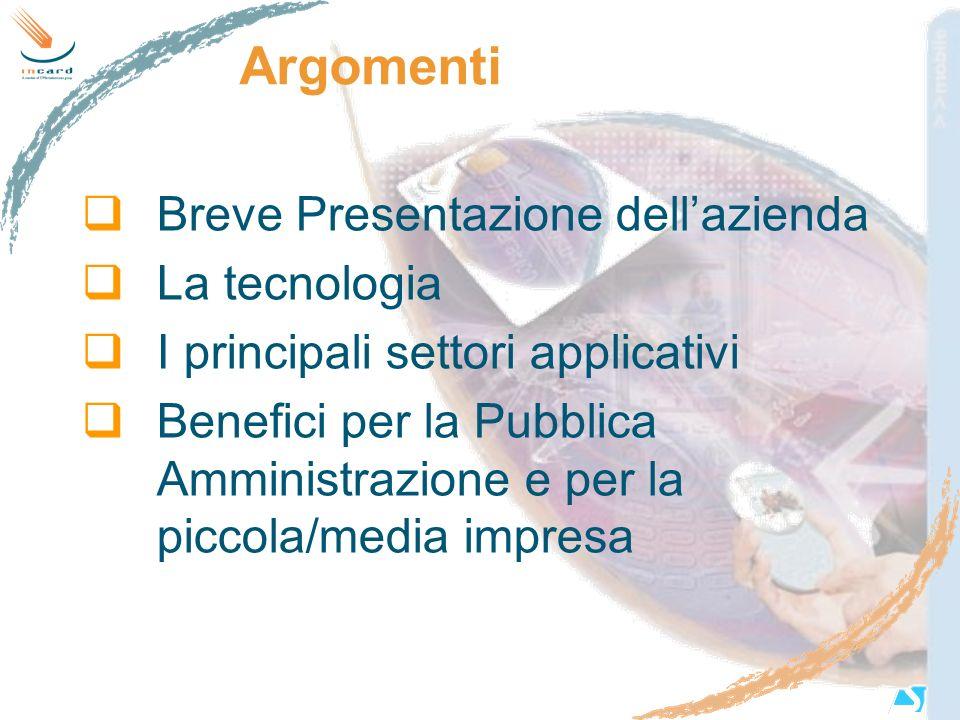 Argomenti Breve Presentazione dell'azienda La tecnologia