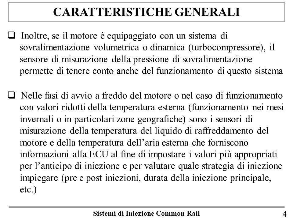 CARATTERISTICHE GENERALI Sistemi di Iniezione Common Rail