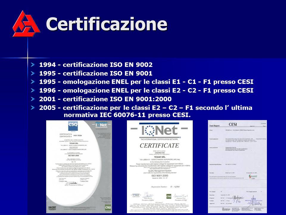Certificazione 1994 - certificazione ISO EN 9002