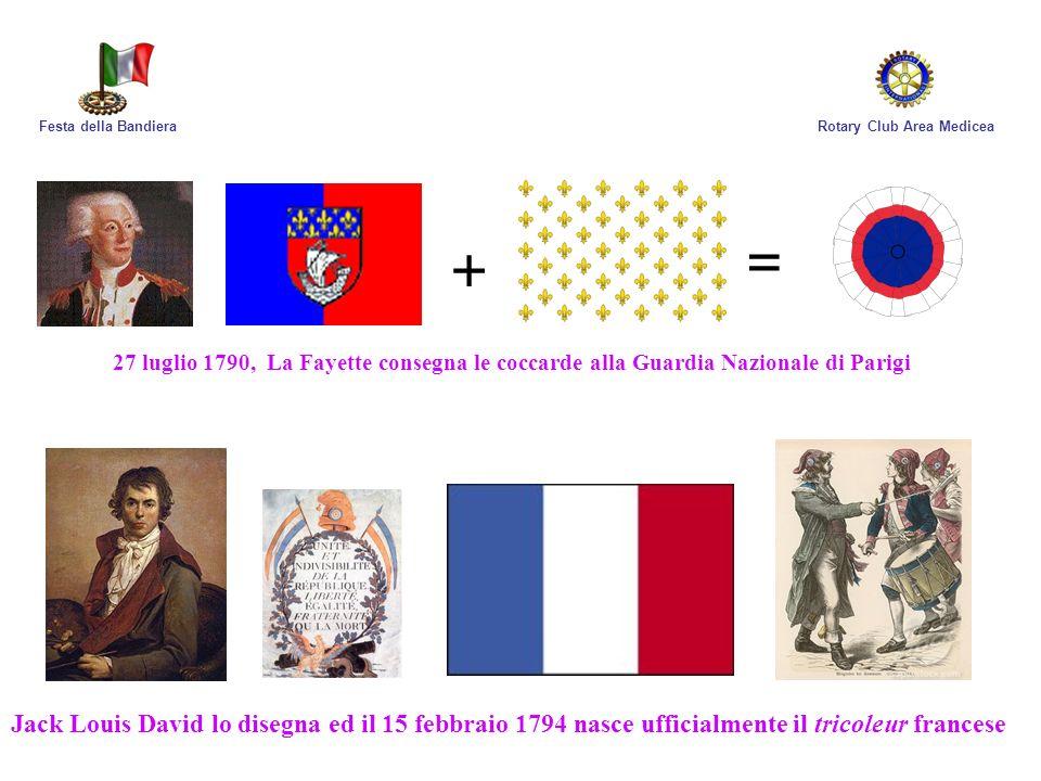 Festa della Bandiera Rotary Club Area Medicea. = + 27 luglio 1790, La Fayette consegna le coccarde alla Guardia Nazionale di Parigi.