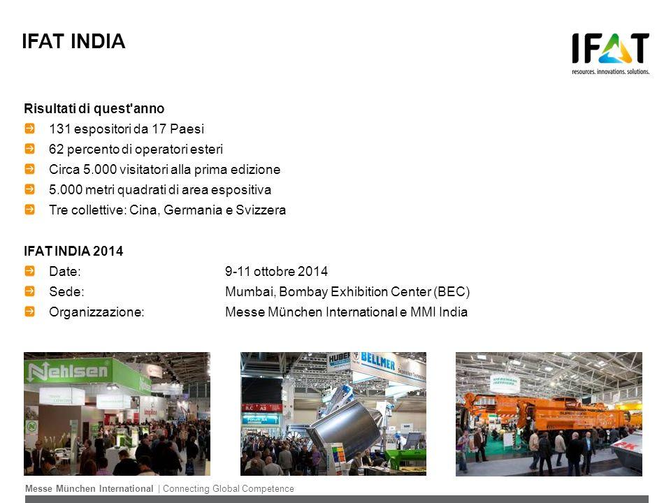 IFAT INDIA Risultati di quest anno 131 espositori da 17 Paesi