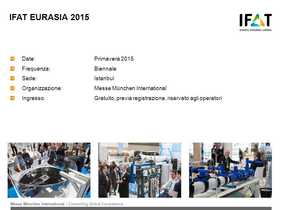 IFAT EURASIA 2015 Date: Primavera 2015 Frequenza: Biennale