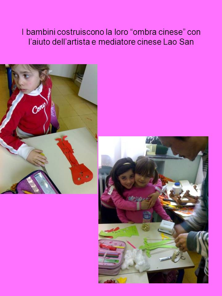 I bambini costruiscono la loro ombra cinese con l'aiuto dell'artista e mediatore cinese Lao San