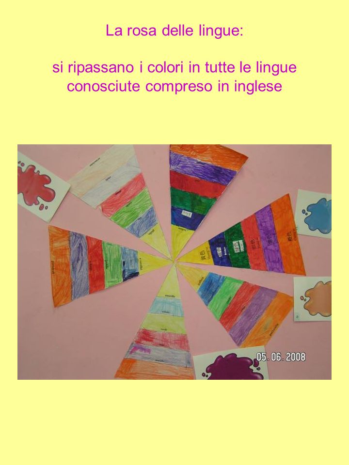 La rosa delle lingue: si ripassano i colori in tutte le lingue conosciute compreso in inglese