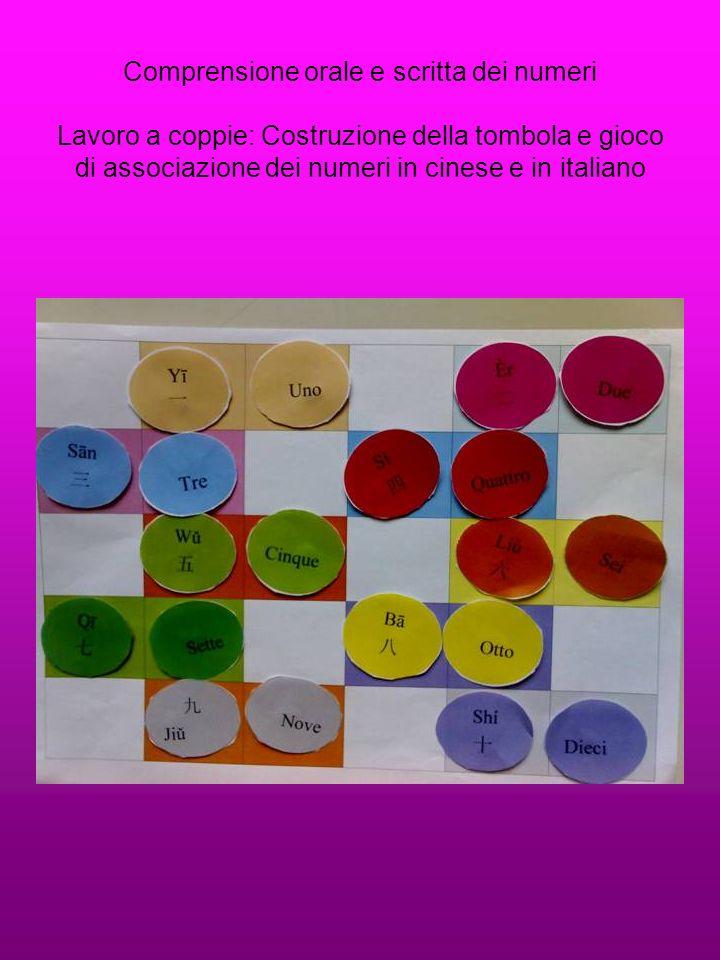 Comprensione orale e scritta dei numeri Lavoro a coppie: Costruzione della tombola e gioco di associazione dei numeri in cinese e in italiano