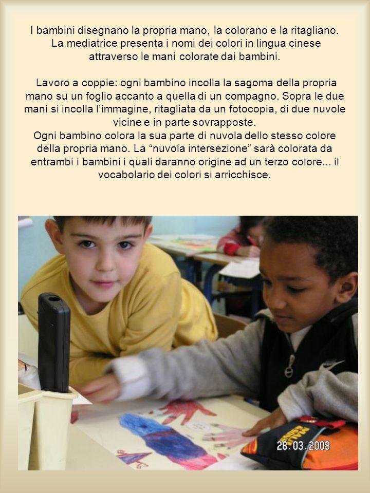 I bambini disegnano la propria mano, la colorano e la ritagliano