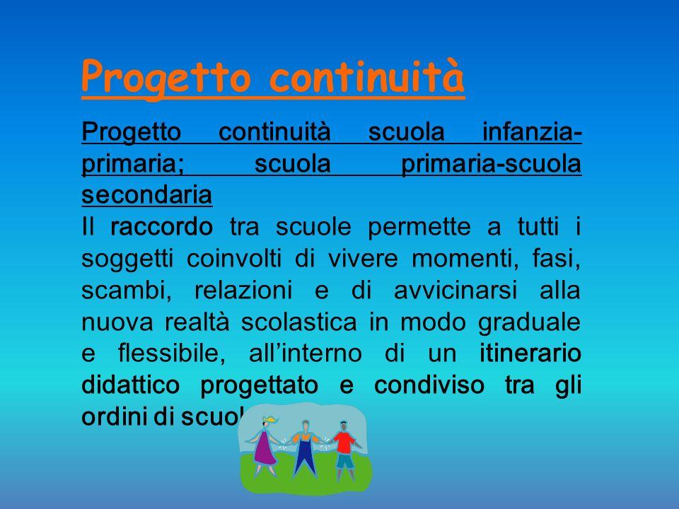 Progetto continuità Progetto continuità scuola infanzia- primaria; scuola primaria-scuola secondaria.