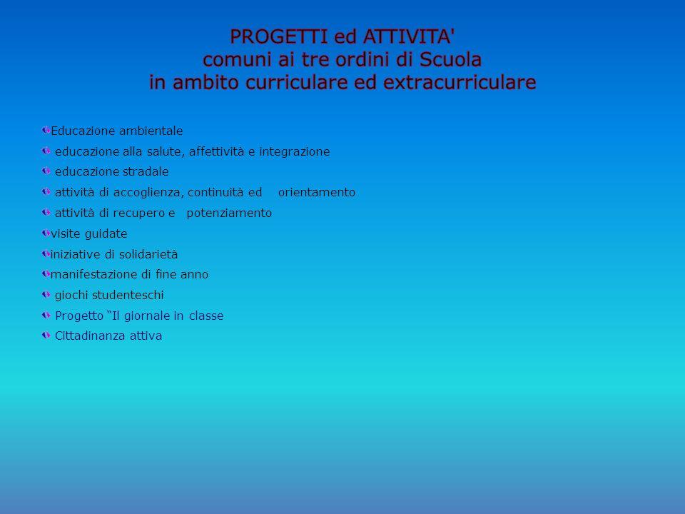 PROGETTI ed ATTIVITA comuni ai tre ordini di Scuola in ambito curriculare ed extracurriculare