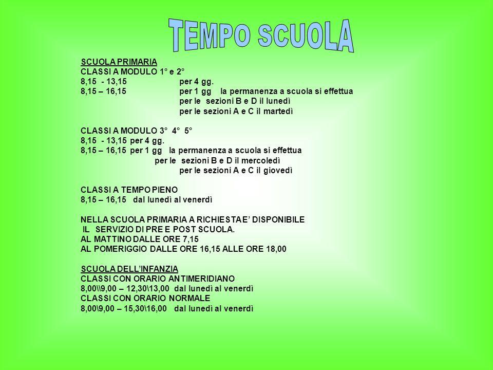 TEMPO SCUOLA SCUOLA PRIMARIA CLASSI A MODULO 1° e 2°