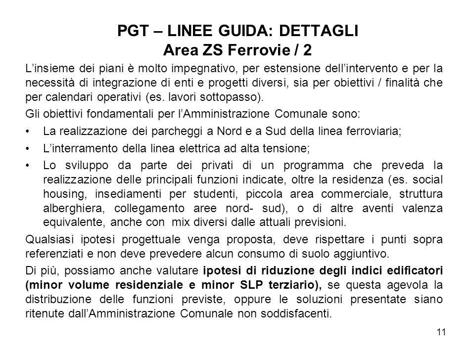 PGT – LINEE GUIDA: DETTAGLI Area ZS Ferrovie / 2