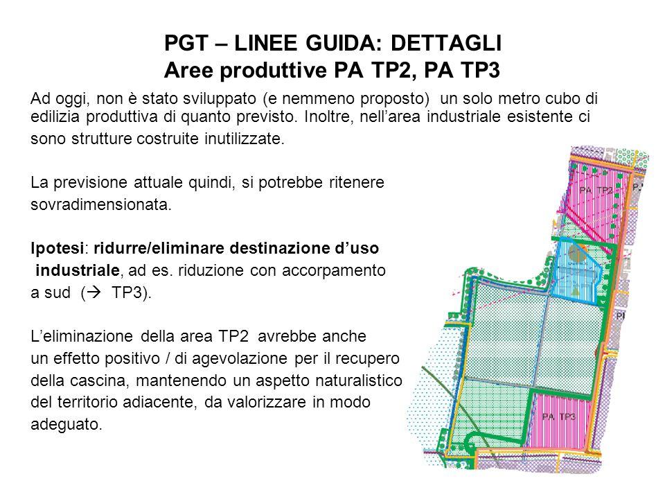 PGT – LINEE GUIDA: DETTAGLI Aree produttive PA TP2, PA TP3