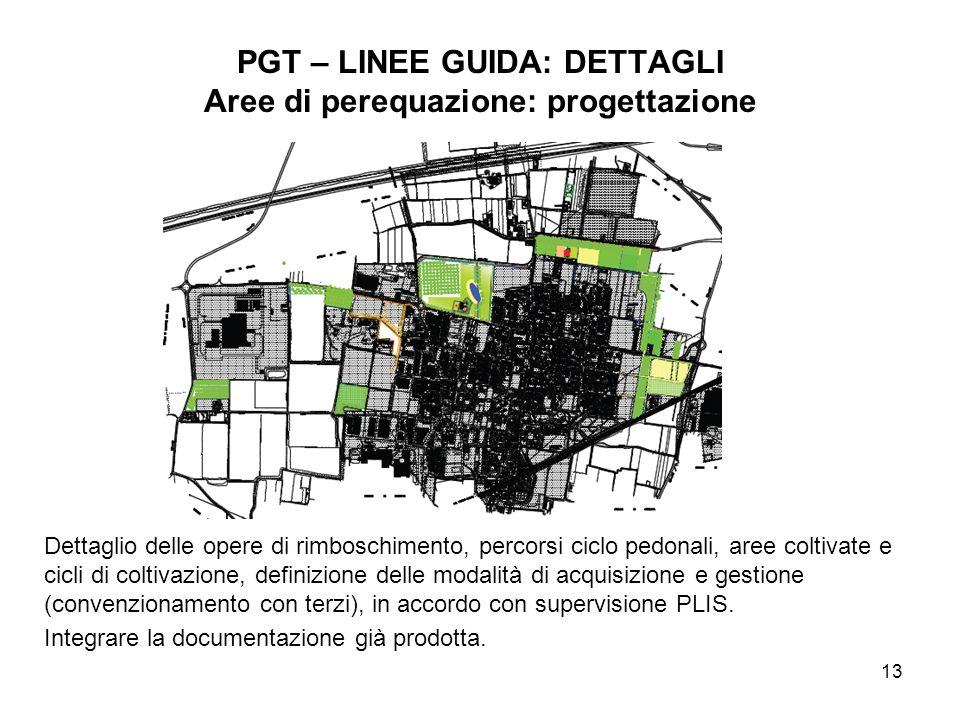 PGT – LINEE GUIDA: DETTAGLI Aree di perequazione: progettazione
