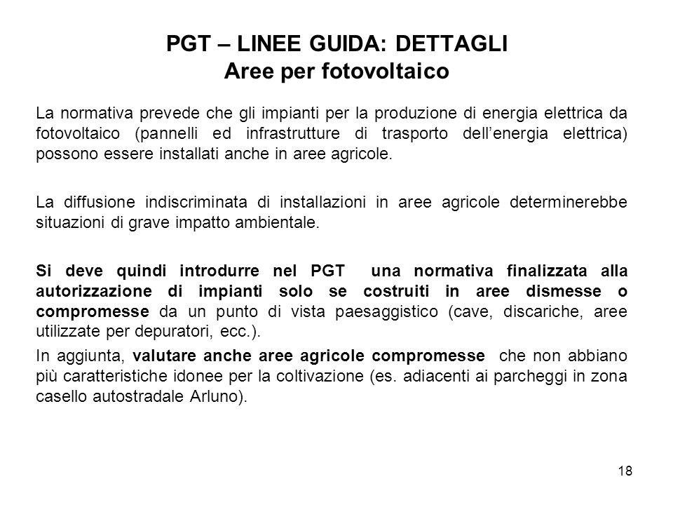 PGT – LINEE GUIDA: DETTAGLI Aree per fotovoltaico