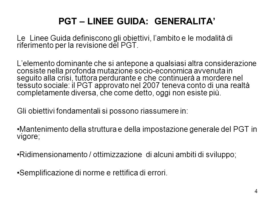 PGT – LINEE GUIDA: GENERALITA'