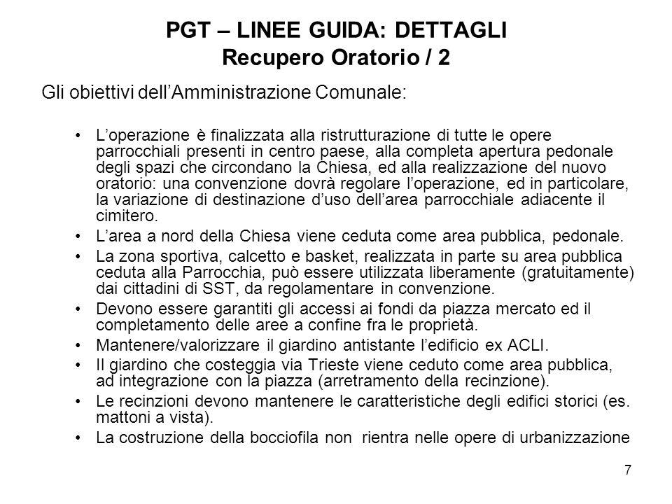 PGT – LINEE GUIDA: DETTAGLI Recupero Oratorio / 2