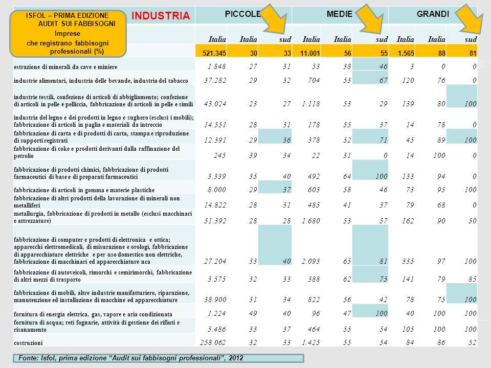 INDUSTRIA PICCOLE MEDIE GRANDI Italia sud 1.848 27 31 53 38 46 3