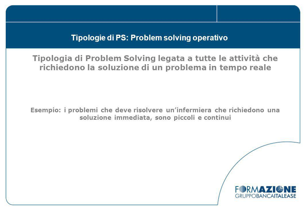 Tipologie di PS: Problem solving operativo