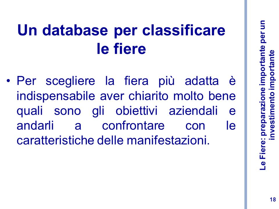 Un database per classificare le fiere