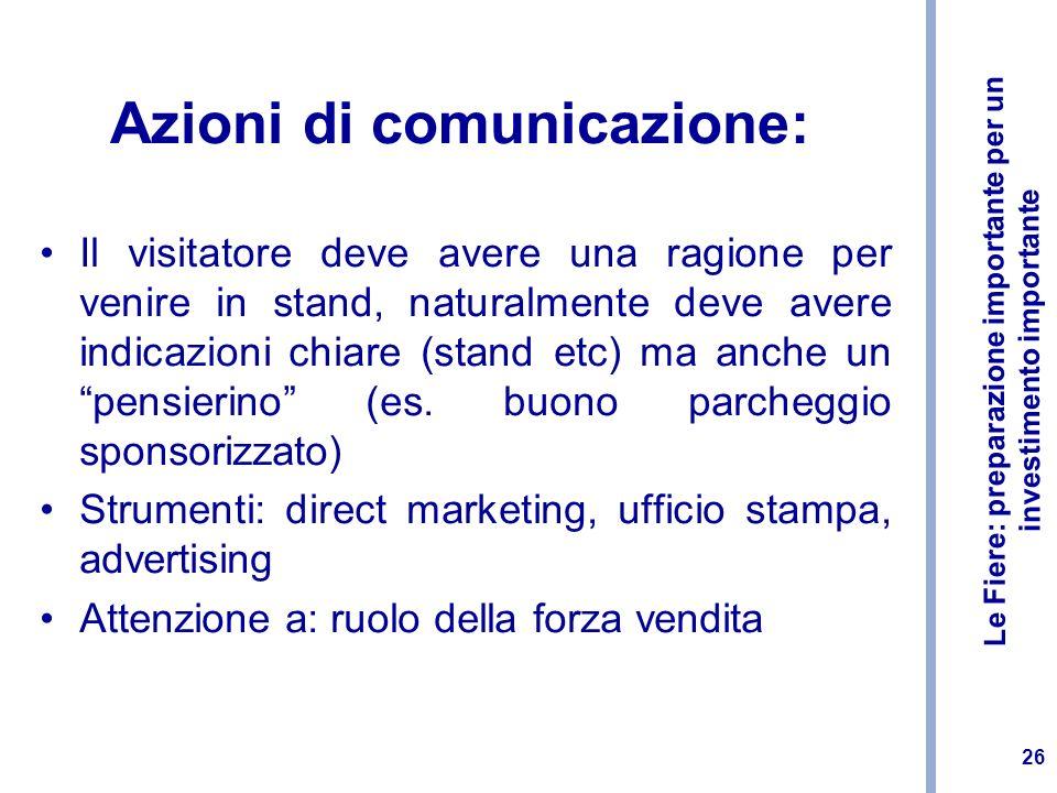 Azioni di comunicazione:
