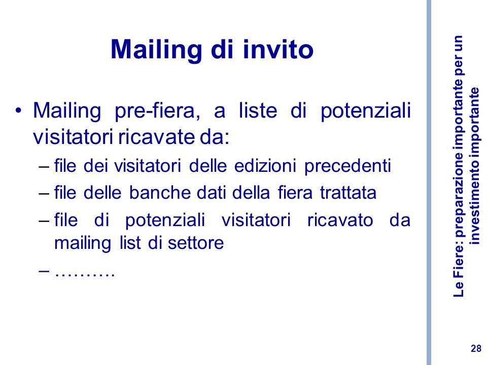 Mailing di invito Mailing pre-fiera, a liste di potenziali visitatori ricavate da: file dei visitatori delle edizioni precedenti.