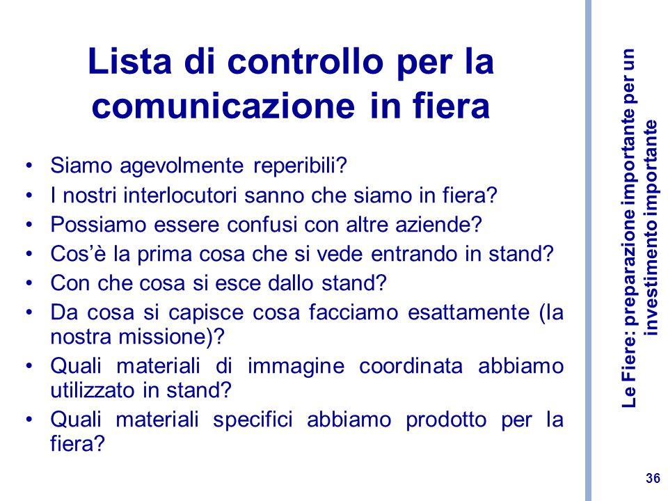 Lista di controllo per la comunicazione in fiera
