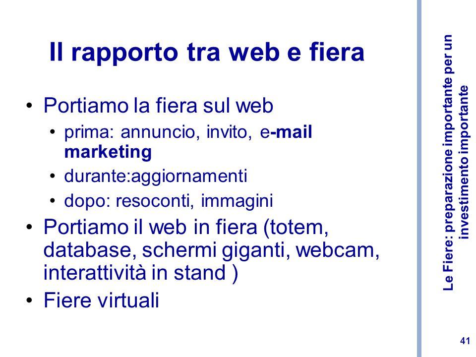 Il rapporto tra web e fiera